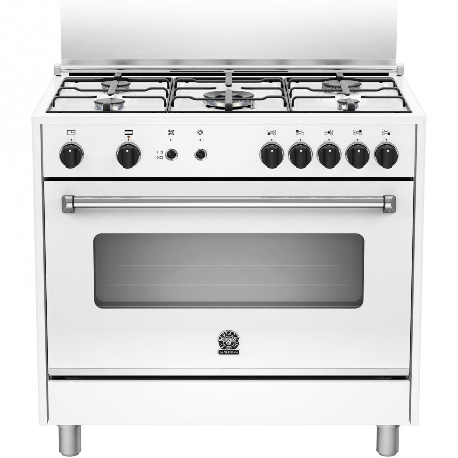 AMS95C71DW   Cucina Con Forno A Gas Da 90 Cm LA GERMANIA Serie Americana  Piano A 5 Fuochi Con Doppia Corona E Forno Ventilato A 5 Funzioni Bianco  Classe A+ ...
